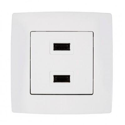 Πρίζα USB Διπλή Λευκή City 190751